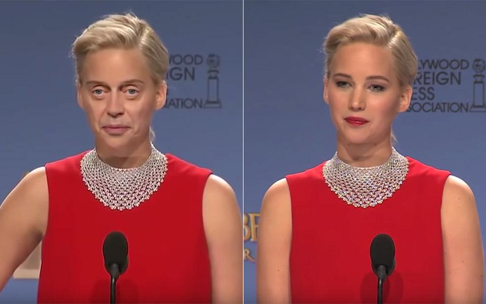 """Il volto di Steve Buscemi """"incollato"""" sula testa di Jennifer Lawrence"""