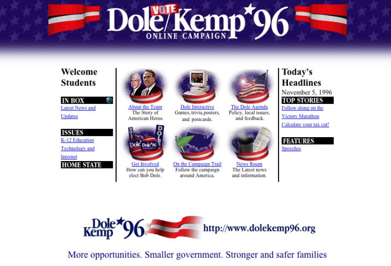 La pagina web del candidato repubblicano che sfidò Bill Clinton