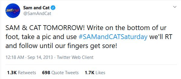 Il tweet incriminato di Sam&Cat