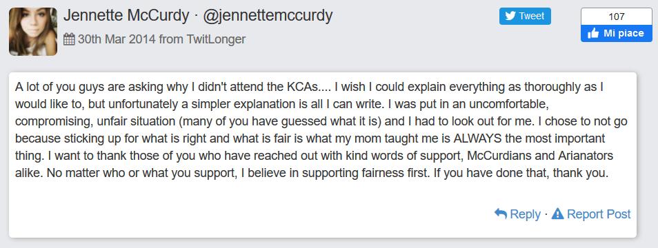 Tweet sui KDA di Jennette